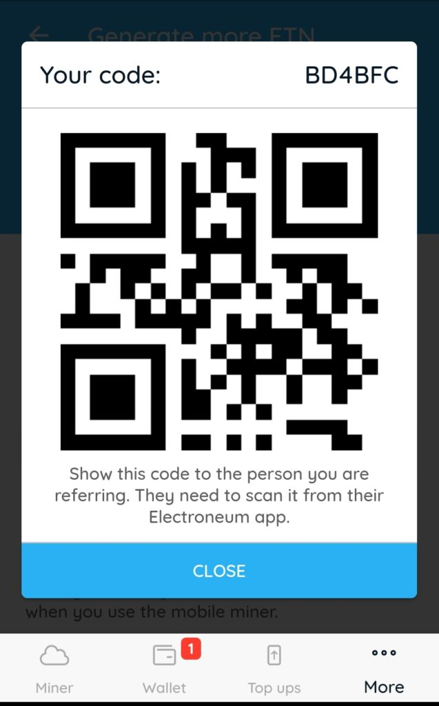 use this reference code electroneum